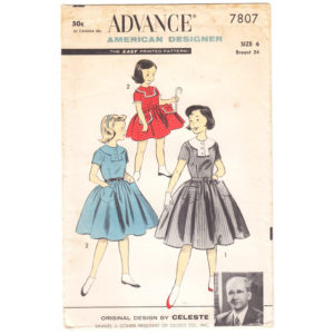 Advance 7807 girls dress pattern