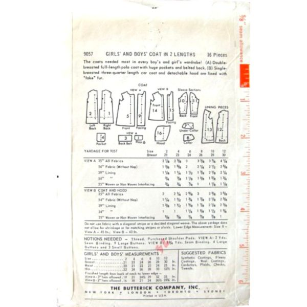 B9057 childs coat sewing pattern