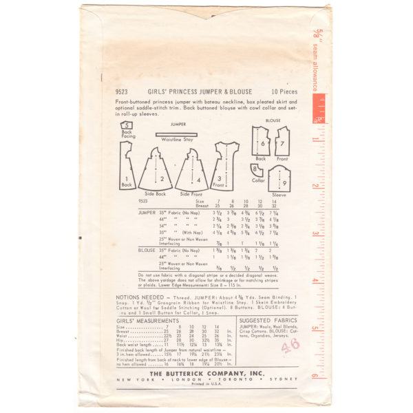 B9523 girls blouse and jumper pattern