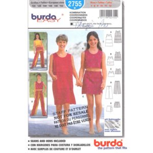 Burda 2755 girls sewing pattern