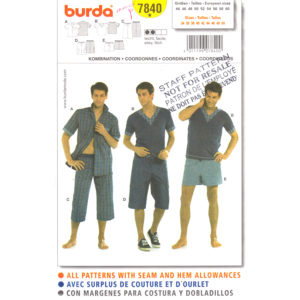 Burda 7840 mens sewing pattern
