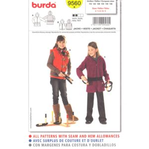 Burda 9560 girls jacket or vest pattern