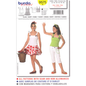 Burda 9575 girls top and dress pattern