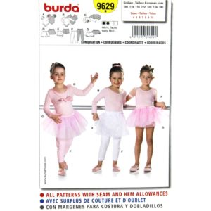 Burda 9629 girls sewing pattern