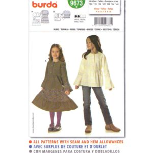 Burda 9673 girls dress or top pattern