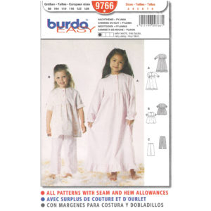 Burda 9766 girls pajama pattern