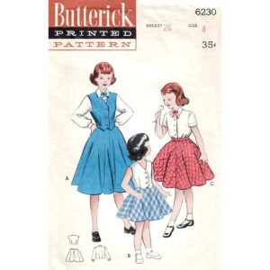 Butterick 6230 girls vintage pattern