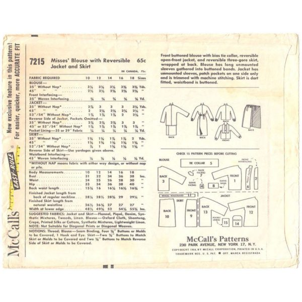 M7215 womens suit sewing pattern