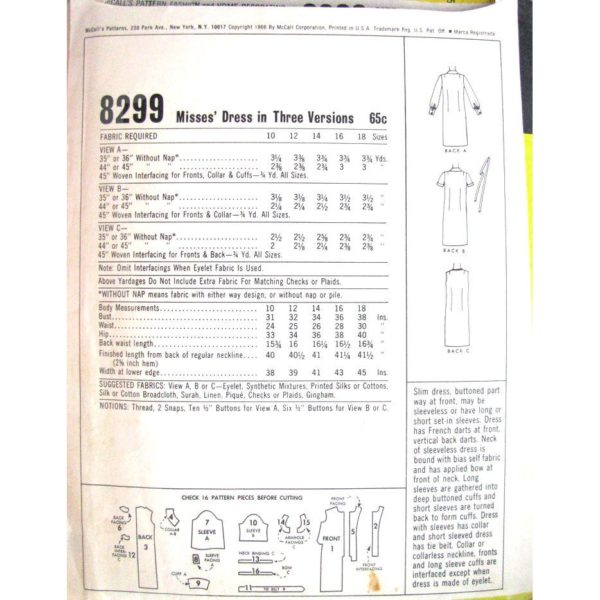 M8299 vintage sewing pattern