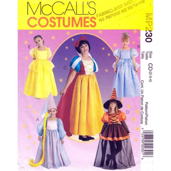 McCalls 2856 costume pattern sz 2-4
