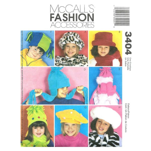 McCalls 3404 kids hats mitts pattern