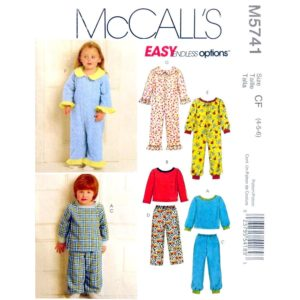 McCalls 5741 kids one piece pajama pattern