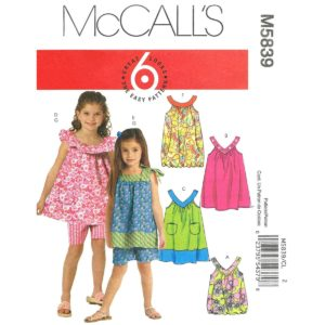 McCalls 5839 girls sewing pattern