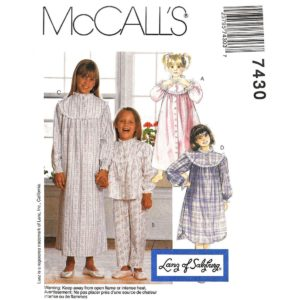 McCalls 7430 girls pajama pattern