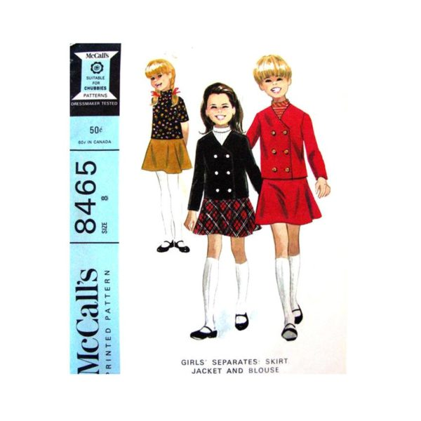 McCalls 8465 girls jacket blouse skirt pattern