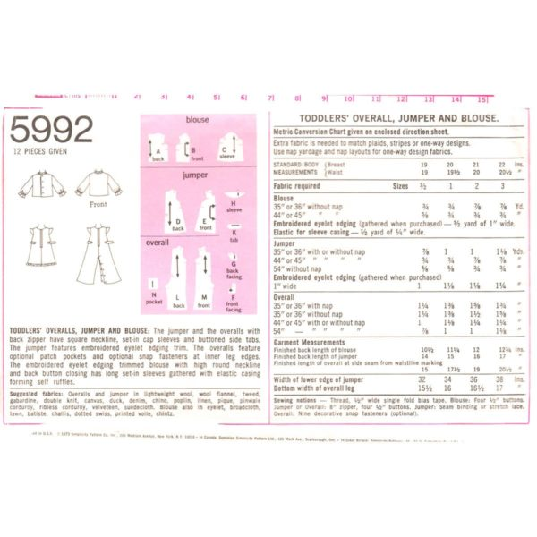 S5992 overalls jumper blouse pattern