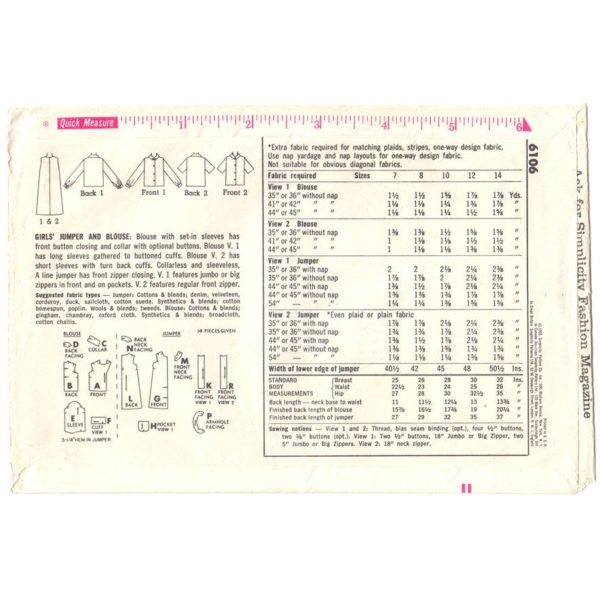 S6106 girls jumper and blouse pattern