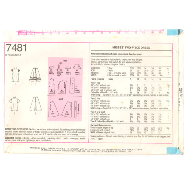 S7481 tops and skirt sewing pattern