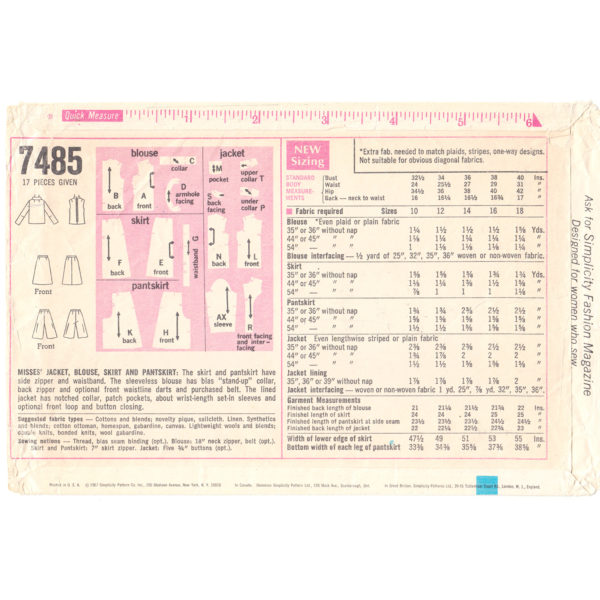 S7485 wardrobe sewing pattern