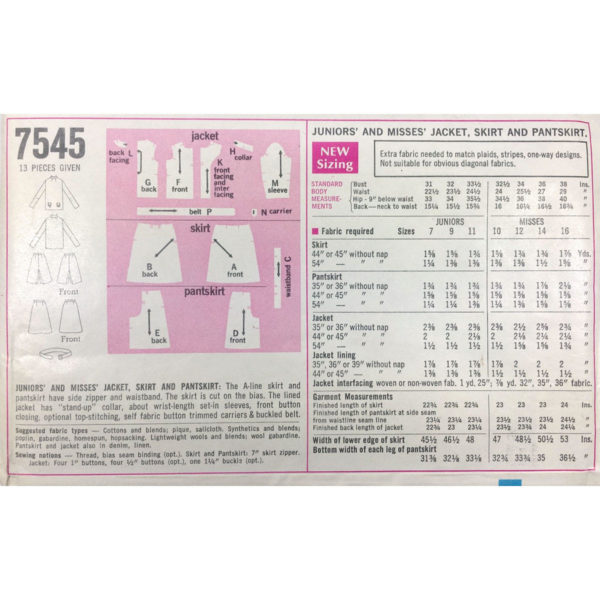 S7545 jacket skirt pantskirt pattern