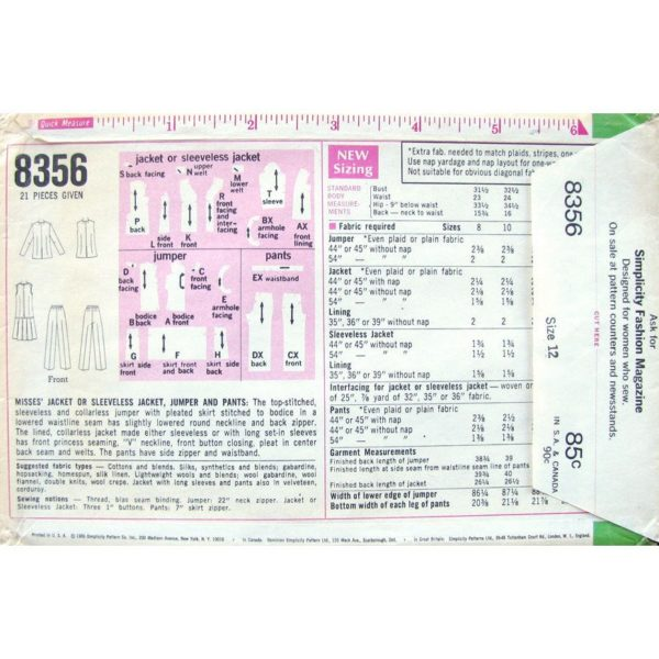 S8356 womens sewing pattern
