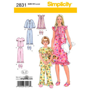 Simplicity 2831 girls pajama pattern