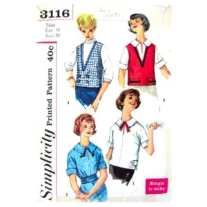 Simplicity 3116 blouse and vest pattern