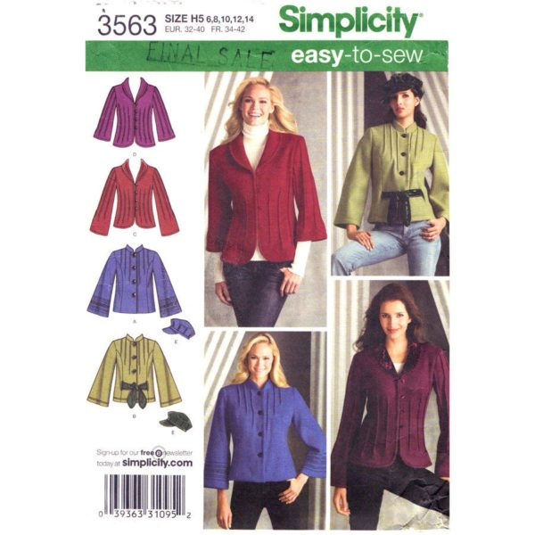 Simplicity 3563 jacket sewing pattern