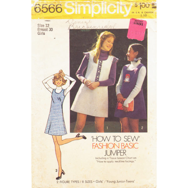 Simplicity 6566 jumper dress pattern