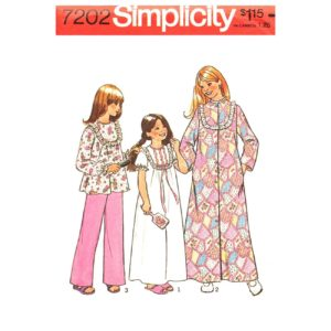 Simplicity 7202 girls pajama pattern
