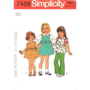 Simplicity 7458 girls sewing pattern