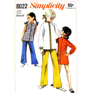 Simplicity 8022 girls sewing pattern