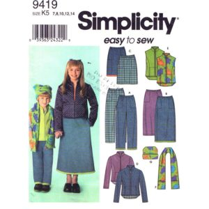 Simplicity 9419 girls sewing pattern