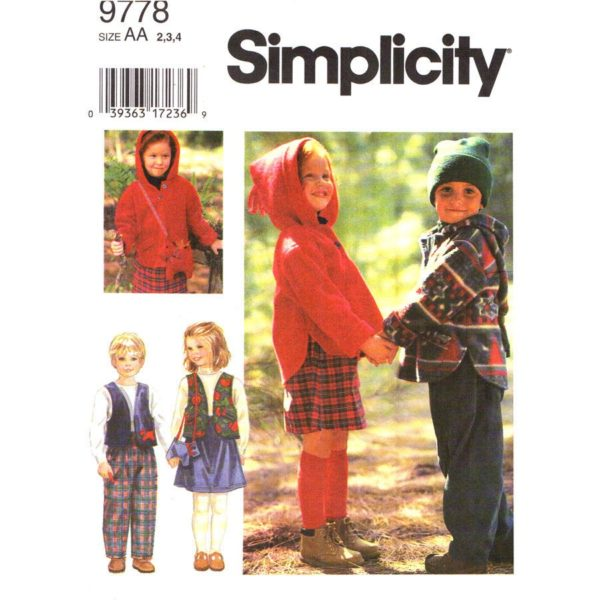Simplicity 9778 childs sewing pattern