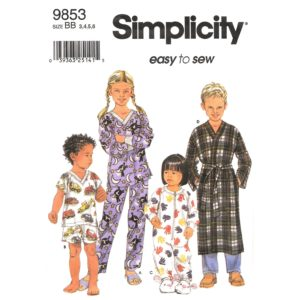 Simplicity 9853 kids robe and pajama pattern
