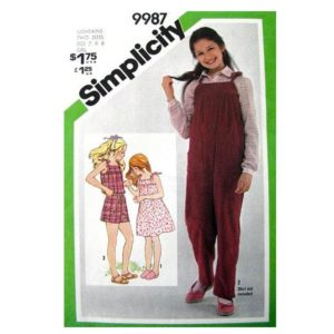 Simplicity 9987 girls sewing pattern