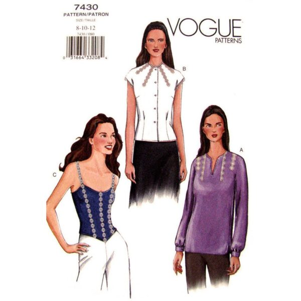 Vogue 7430 womens tops pattern