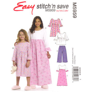 McCalls 5959 girls pajama pattern