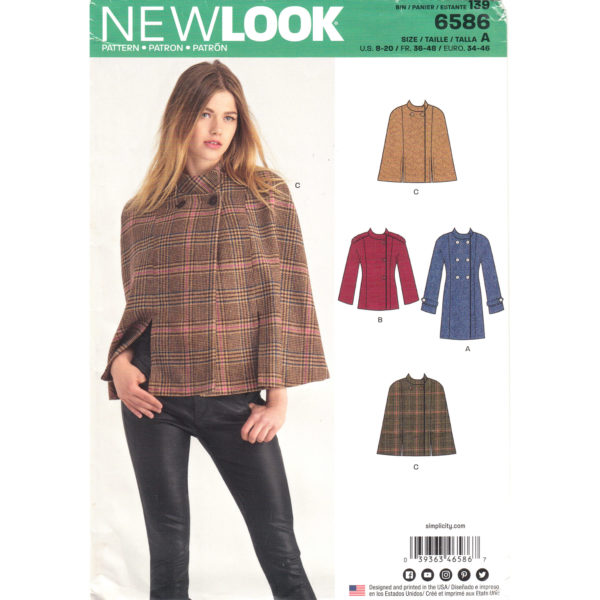 New Look 6586 cape and coat pattern