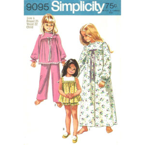Simplicity 9095 girls pajama pattern