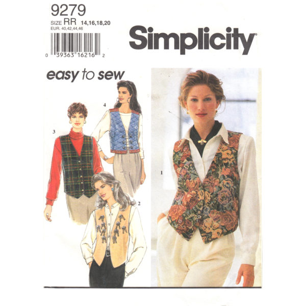 Simplicity 9279 vest sewing pattern