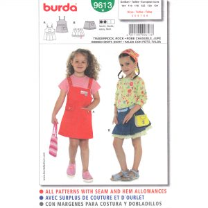 Burda 9613 girls bib skirt pattern