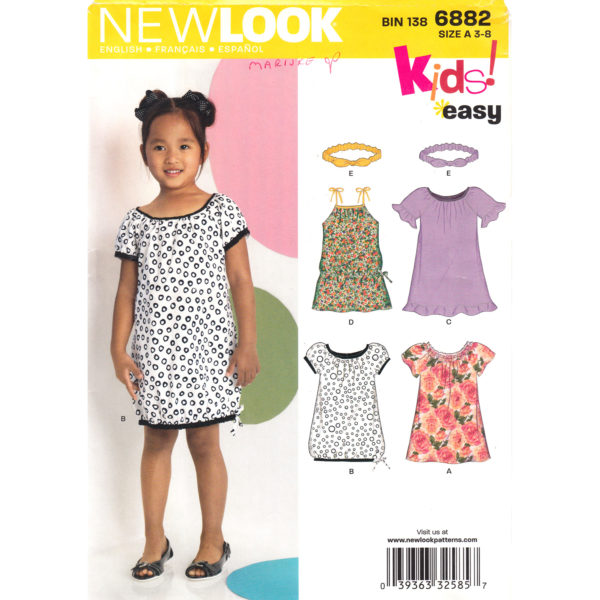 New Look 6882 girls dress pattern
