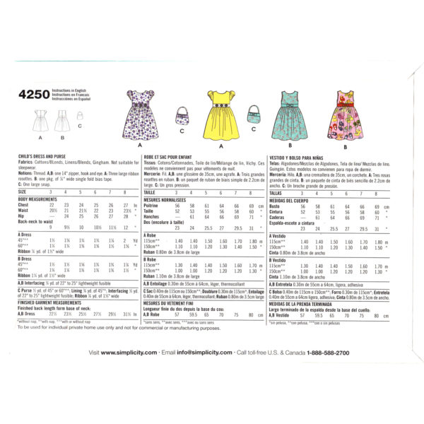 S4250 girls dress pattern