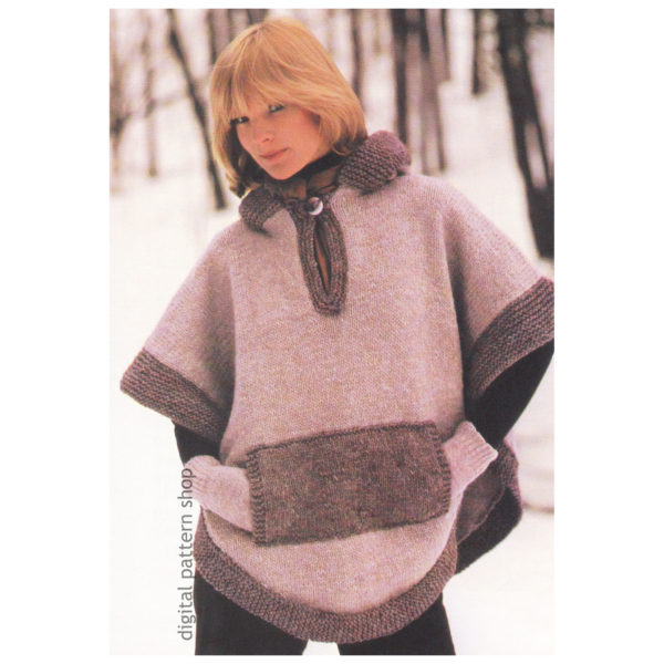 hooded poncho knitting pattern