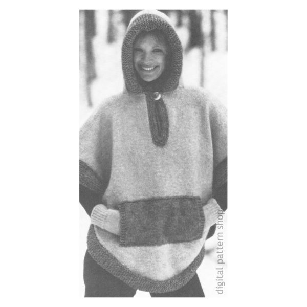 hooded poncho knitting pattern for women