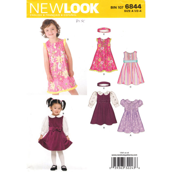 New Look 6844 girls dress pattern
