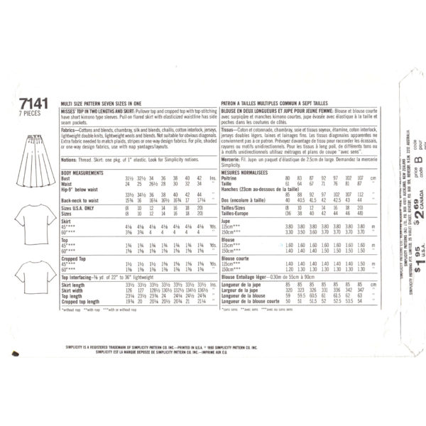 S7141 top and skirt pattern