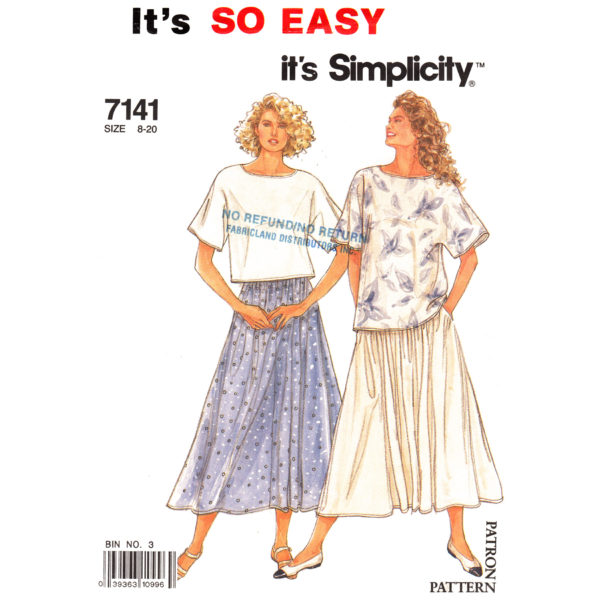 Simplicity 7141 top and skirt pattern