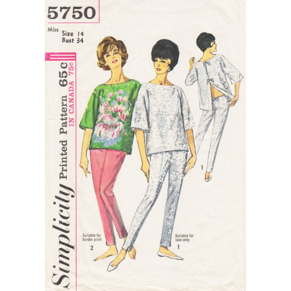 Simplicity 5750 top and pants pattern